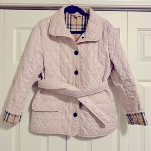 ✨HP✨ Burberry Quilted Coat in Pink with Belt